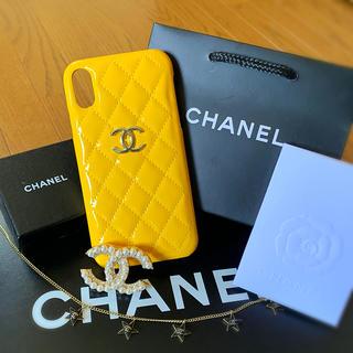 シャネル(CHANEL)のエナメルYEL CHANEL iPhoneXR スマホケース スマホカバーXR(iPhoneケース)