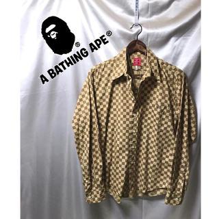 アベイシングエイプ(A BATHING APE)の☆ABATHINGAPE  ギンガムチェックシャツ ブラウン系 長袖シャツ(シャツ)