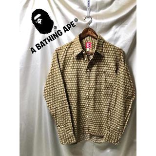 アベイシングエイプ(A BATHING APE)の☆ ABATHINGAPE デザインシャツ ブラウン系 長袖シャツ エイプ(シャツ)