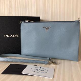 PRADA - 美品 プラダ サフィアーノ ストラップ付 クラッチバッグ ライトブルー