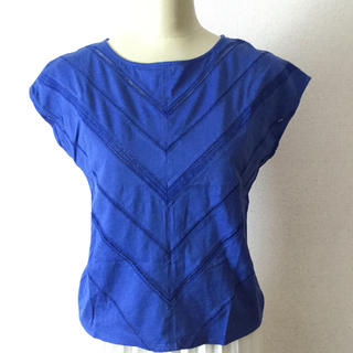 アナイ(ANAYI)のanayi ブルー レース Tシャツ サイズ38 コットン100% 数回着用(Tシャツ(半袖/袖なし))