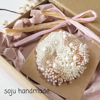 ビーズ刺繍 ブローチ スカーフ留め(コサージュ/ブローチ)