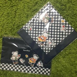 familiar - ☆ファミリア ランチ巾着 ナフキン セット ネイビー☆お弁当 給食 可愛い 男子