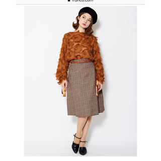 【特別価格】【frunco】ベルト付きグレンチェックAラインスカート(ひざ丈スカート)