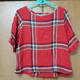 キューブシュガー(CUBE SUGAR)のキューブシュガー赤チェックブラウス(シャツ/ブラウス(半袖/袖なし))