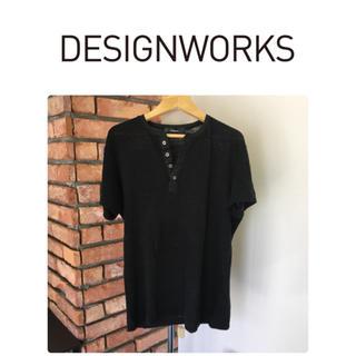 DESIGNWORKS - デザインワークス★半袖シャツ/ブラック系/サイズ46/麻100%