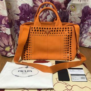 プラダ(PRADA)の新品 未使用 PRADA プラダ カナパ ビジュー オレンジ 2way Mサイズ(トートバッグ)