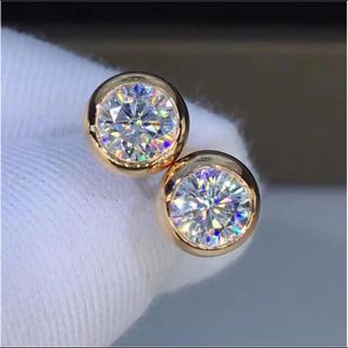 【0.5カラット】輝くモアサナイト ピアス k18(リング(指輪))