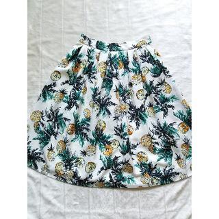 インデックス(INDEX)の271 ワールド フレアスカート パイナップルとレモン柄(ひざ丈スカート)