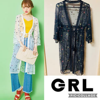 GRL - 《SALE》 《新品》 GRL フラワー刺繍 シースルーカーディガン