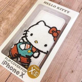 ハローキティ(ハローキティ)のキティ 刺繍 iPhoneX/Xs 兼用 フリップカバー SAN778A(iPhoneケース)