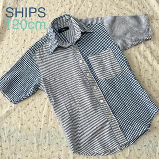 シップス(SHIPS)の美品 シップス 120㎝ しじら織 半袖シャツ  ギンガムチェック 夏トップス(ブラウス)