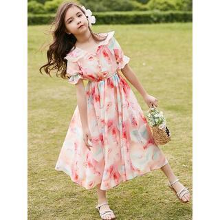 子供用 ワンピース ピンク 花柄 ポリエステル100% ドレス(ワンピース)