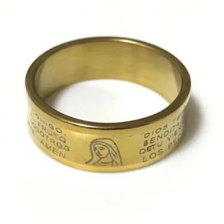 同時購入で300円 ステンレス指輪 マリア ゴールド