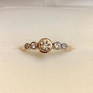 プラチナ K18 ダイヤモンド リング
