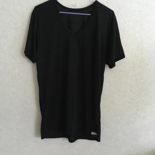 シマムラ(しまむら)のメンズファイバードライ、しまむら、Vネック、ブラック、半袖、Lサイズ(Tシャツ/カットソー(半袖/袖なし))