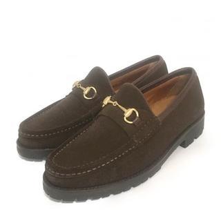 グッチ(Gucci)のヴィンテージ GUCCI グッチ スウェード ホースビットローファー(ローファー/革靴)