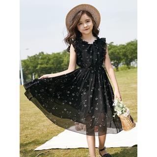 子供用 ワンピース ブラック 星柄 女の子 パーティドレス ポリエステル100%(ワンピース)