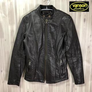 バンソン(VANSON)の古着80s VANSON コーツ&クラーク レザーシングルライダースジャケット(ライダースジャケット)