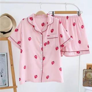 送料込み‼︎コットン100%‼︎夏快適‼︎ 【可愛い】ストロベリー半袖パジャマ