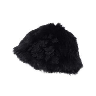 ANTEPRIMA - アンテプリマ フラワー付きラビットファー帽子 ブラック