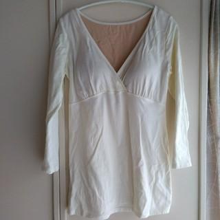ムジルシリョウヒン(MUJI (無印良品))のシルク入り授乳に便利なカップ付カップ付カシュクール八分袖(マタニティ下着)