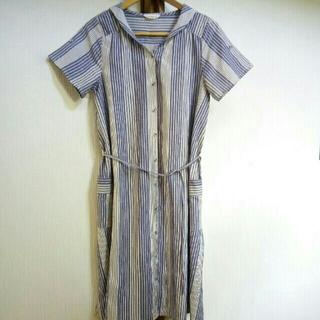 サマンサモスモス(SM2)のSamansa Mos2✨ セーラーカラー シャツ ワンピース✨サイズM(ひざ丈ワンピース)