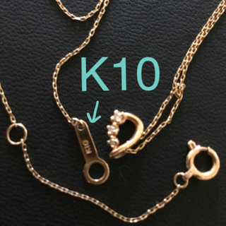 ヨンドシー(4℃)のcanal 4℃ ピンクゴールド  ダイヤ3石 10K 10金 ネックレス 華奢(ネックレス)