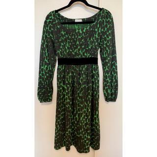 GRACE CONTINENTAL - グレースクラス ワンピース 緑 黒 長袖 リボン