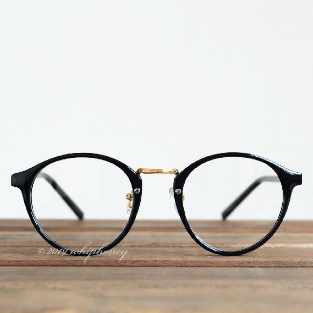 レトロクラシックボストンメガネUV 伊達眼鏡 だてめがね ブラック ゴールド メンズのファッション小物(サングラス/メガネ)の商品写真