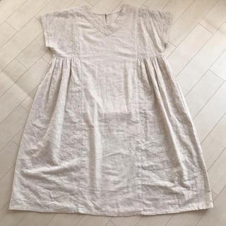 綿麻刺繍ワンピース