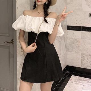ボリュームフリルオフショルダーミニワンピースドレス