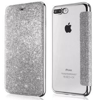 ラメ iPhone7 iPhone8 シルバー 背面 クリア 手帳型ケース