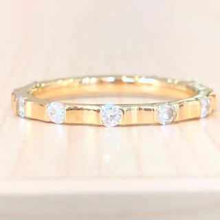 ✨キラキラ✨合計0.45ct❣️イエローゴールド ダイヤ K18 リング 指輪(リング(指輪))