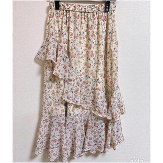 GU - GU♡ラッフルフレアミディスカート 花柄♪