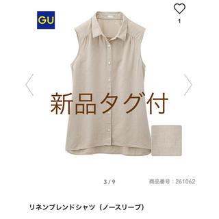 ジーユー(GU)の【新品タグ付】GU リネンブレンドシャツ ノースリーブ(シャツ/ブラウス(半袖/袖なし))