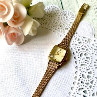 agete - 【電池交換済み】agete アガット 腕時計 0.02ct ゴールド スクエア