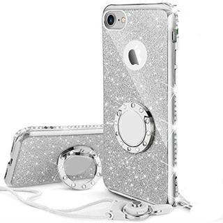 iPhoneケース リング ストラップ付きケース キラキラ かわいい(シルバー)