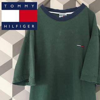 トミーヒルフィガー(TOMMY HILFIGER)の【90's Tommy  Hilfiger】刺繍ロゴTシャツ モスグリーン/XL(Tシャツ/カットソー(半袖/袖なし))