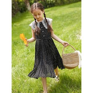 子供用 ワンピース ブラック&ホワイト ドット柄 女の子 パーティドレス(ワンピース)