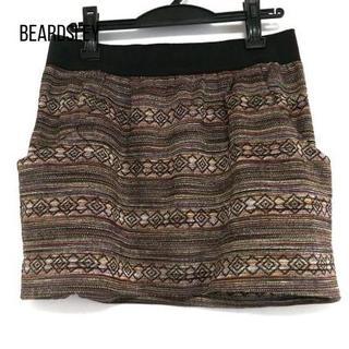 BEARDSLEY - ビアズリー ミニスカート サイズF レディース 黒×ベージュ×マルチ