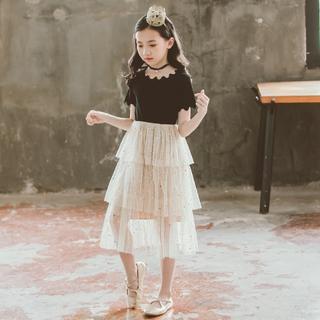 子供用 ワンピース ブラック&ホワイト 女の子 パーティドレス 結婚式 お呼ばれ(ワンピース)