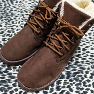 ■ブラウン 25.0cm スタイリッシュムートンブーツ もこもこ  軽量 (ブーツ)