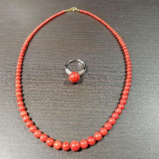 珊瑚リング・ネックレス2点セット レディースのアクセサリー(リング(指輪))の商品写真