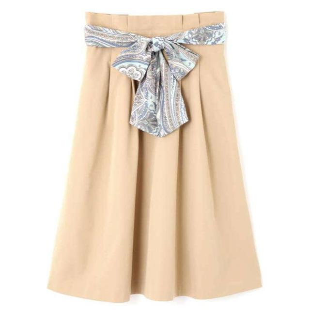 PROPORTION BODY DRESSING(プロポーションボディドレッシング)のPROPORTION 今期 ペイズリーリボンタックフレアスカート レディースのスカート(ひざ丈スカート)の商品写真
