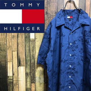 TOMMY HILFIGER - 【激レア】トミーヒルフィガー☆ロゴタグ入りヤシの木柄オープンカラーシャツ 90s