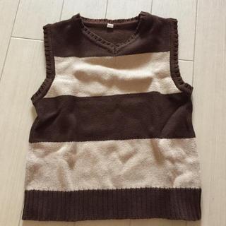 ニシマツヤ(西松屋)の95 西松屋 ベスト ブラウン ボーダー 茶色 90(Tシャツ/カットソー)