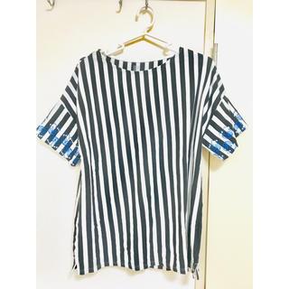 Design Tshirts Store graniph - 刺繍 ボーダーTシャツ