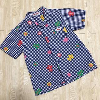 ミキハウス(mikihouse)のミキハウス シャツ ギンガムチェック 飛行機 100(Tシャツ/カットソー)