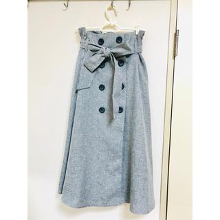 夏用 リボン フロントボタン スカート
